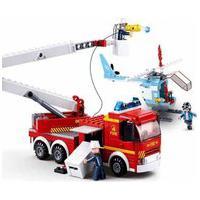 Blocos De Montar Caminhão De Bombeiro Com Plataforma + Helicóptero 394 Peças Multikids