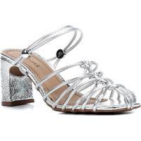 Sandália Shoestock Croco Tiras Salto Médio Feminina - Feminino-Prata