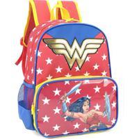 Mochila Escolar Wonder Woman 36X27X13 Cm Vermelho Luxcel