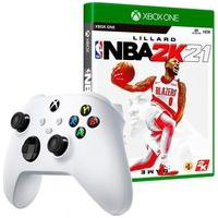Controle Microsoft Xbox, Sem Fio, Branco + Game Nba 2K21 Xbox One