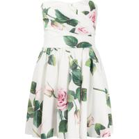 Dolce & Gabbana Vestido Mini Tropical Rose Com Estampa - Branco