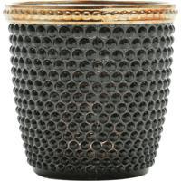Cachepot De Vidro E Zamac Bristol Preto E Dourado 7,5X7,5Cm Lyor