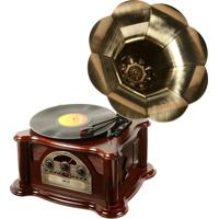 Gramofone Toca Discos Vinil Retrô Texas De Madeira Bivolt