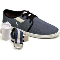 Kit Sapatênis Meia Cinto Polo Blu Masculino - Masculino-Jeans