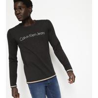 """Suã©Ter Em Tricã´ """"Calvin Klein Jeansâ®"""" - Preto & Begecalvin Klein"""