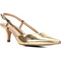 Scarpin Couro Shoestock Slingback Metalizado Salto Baixo - Feminino-Dourado