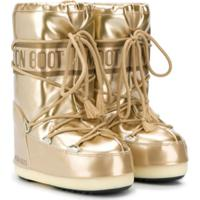 Moon Boot Kids Bota De Neve Com Estampa De Logo - Dourado