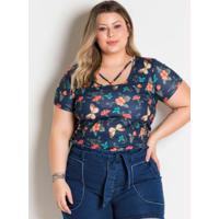 Blusa Borboletas Com Tiras No Decote Plus Size