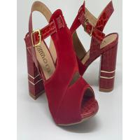 Sandália Salto Grosso - Nobuck/Vermelho/Croco Stone/New Jambo