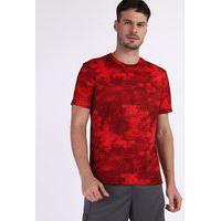 Camiseta Masculina Esportiva Ace Estampada Marmorizada Manga Curta Gola Careca Vermelha