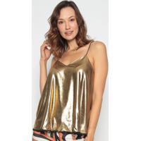 Blusa Com Babados - Dourada- Lança Perfumelança Perfume