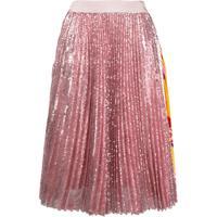 Msgm Pleated Sequin Midi Skirt - Rosa