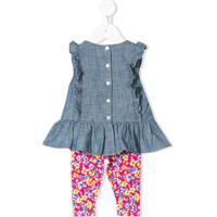 Ralph Lauren Kids Conjunto De Top E Legging Em Cambraia - Azul