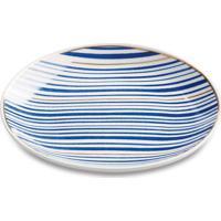 Mini Prato Decorativo Linhas Cerâmica Azul Mart Collection