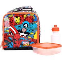 Lancheira Infantil Escolar Xeryus Marvel Liga Da Justiça - Masculino-Vermelho