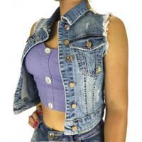 Colete Sol Jeans Cropped Com Lycra Feminino - Feminino-Azul