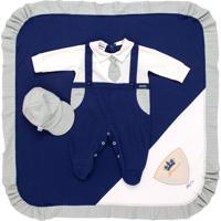 Saída De Maternidade Fofinho Social Com Boné Azul Marinho