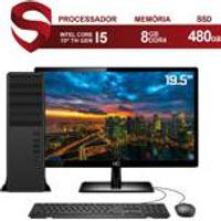 Computador Completo Pc Intel 10A Geracao Core I5 10400 4.3Ghz 8Gb Ddr4 Ssd 480Gb Monitor 19.5Apos; Hdmi Audio 7.1 Canais Skill Force