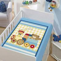 Cobertor Infantil Jolitex Tradicional Trenzinho Azul Masculino