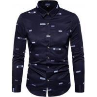 Camisa Masculina Social Slim California - Azul Escuro