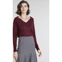 Suéter Feminino Em Tricô Decote V Vinho