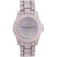 Relógio De Luxo Feminino Strass Bee Sister - Silver