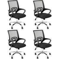 Conjunto Com 4 Cadeiras De Escritório Secretária Java Ii Preto