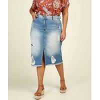 Saia Plus Size Feminina Midi Jeans Destroyed Biotipo
