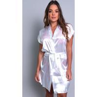 Robe Mvb Modas Noiva Roupão Cetim Personalizado Branco