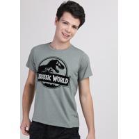 Camiseta Juvenil Jurassic World Manga Curta Verde Militar