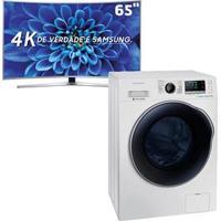 """Smart Tv Led 65"""" Uhd Premium 4K Curva Samsung 65Ku6500 + Lavadora E Secadora De Roupas Samsung Wd10J6410Aw Branca - 10,2Kg"""