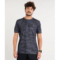Camiseta Masculina Esportiva Ace Estampada Camuflada Manga Curta Gola Careca Chumbo