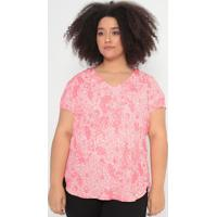 Blusa Floral Com Recortes- Rosa Escuro & Off White- Cotton Colors Extra