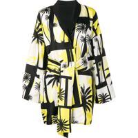 Fausto Puglisi Palm Tree Belted Kimono - Preto