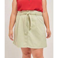 Saia Evasê Lisa Em Sarja Com Amarração Curve & Plus Size | Ashua Curve E Plus Size | Verde | 46