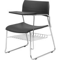 Cadeira Nina Com Bracos E Prancheta Assento Preto Base Gradil Fixa Cromada - 54742 Sun House