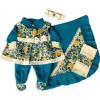 Kit I9 Baby Saída Maternidade Menina 5 Peças Floral Laguna