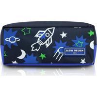 Estojo Infantil Jacki Design Foguete Microfibra Masculino - Masculino-Marinho