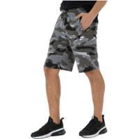 Bermuda De Moletom Nike Camo Ft - Masculina - Cinza Esc/Cinza