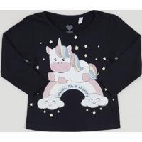 Blusa Infantil Unicórnio Com Glitter Manga Longa Azul Marinho