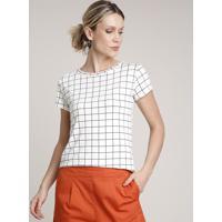 Blusa Feminina Estampada Quadriculada Com Botões Manga Curta Decote Redondo Off White