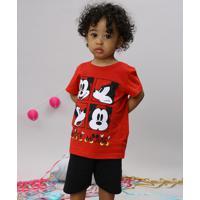 fc84e5b270 CEA; Conjunto Infantil Mickey De Camiseta Manga Curta Vermelha + Bermuda Em  Moletom Preta