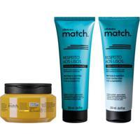 Combo Match Respeito Aos Lisos + Fonte Da Nutrição: Shampoo, 250Ml + Condicionador, 250Ml + Máscara Capilar 250G