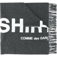 Comme Des Garçons Shirt Echarpe Com Franjas E Estampa De Logo - Cinza