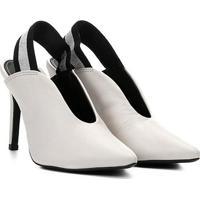 Scarpin Couro Loucos & Santos Chanel Recortada Salto Alto - Feminino-Branco
