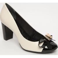 Sapato Tradicional Em Couro Com Laã§O - Branco & Preto