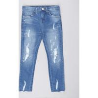 Calça Jeans Infantil Com Puídos E Respingos Azul Claro