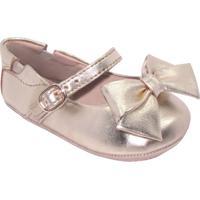 Sapato Boneca Com Laã§O & Fivela - Dourado- Luluzinhluluzinha