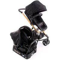 Carrinho Com Bebê Conforto Mobi Trio Edição Especial Travel System Black Gold - Safety