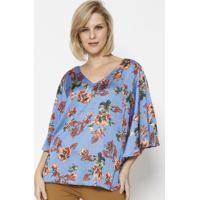 Blusa Floral Com Recorte - Azul & Coralsimple Life
